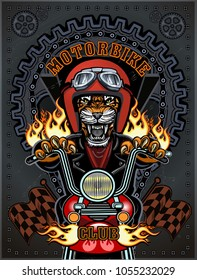 Vintage motorcycle label with Tiger