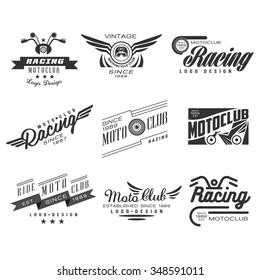 Vintage Motorcycle Labels, Badges, Text and Design Elements. Vector Black and White Collection