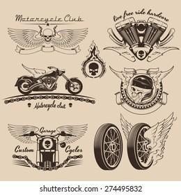 Vintage motorcycle labels and design elements