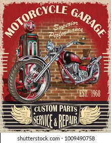 Vintage motorcycle poster.