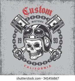 Vintage motorcycle print with skull in motorcycle helmet and crossed pistons on grange background.