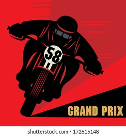 Vintage Motorcycle race label, vector illustration