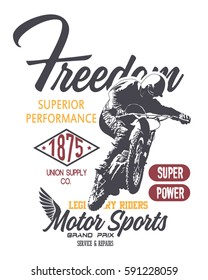 vintage motorcycle racer silhouette and design elements