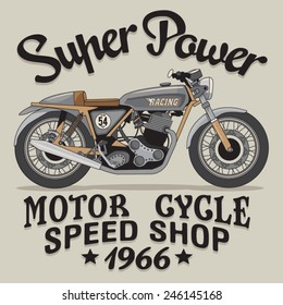 Vintage motorcycle racing typography, t-shirt graphics, vectors