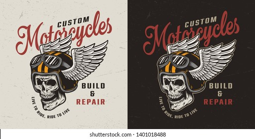 Vintage motorcycle repair service colorful emblem with motorcyclist skull in winged helmet and goggles isolated vector illustration