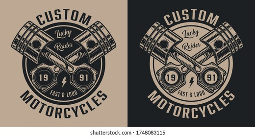 Vintage motorcycle repair service label with inscriptions and crossed pistons isolated vector illustration