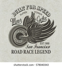 Vintage motorcycle San Francisco poster , t-shirt  print.