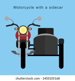 Vintage motorcycle with a sidecar on ble background