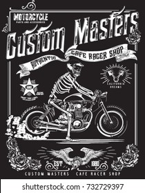 vintage motorcycle and skeleton rider race poster
