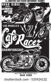 Vintage motorcycle skull rider print