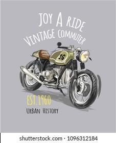 vintage motorcycle with slogan