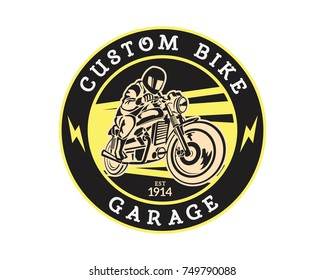 Vintage Motorcycle Speed Shop Garage Logo Badge Illustration