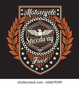 Vintage motorcycle speedway typography, tee shirt graphics, vectors
