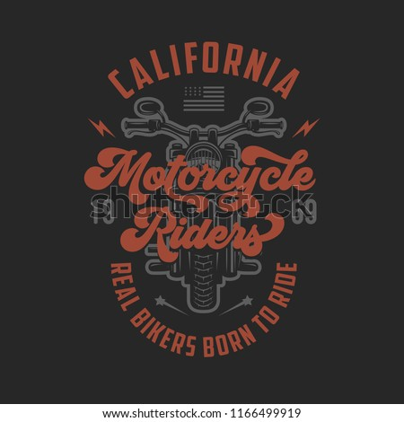 7c0dd46ffbd Vintage motorcycle t-shirt design. Motorcycle riders typography. Born to  ride. Racers club emblem. Vector vintage illustration. - Vector