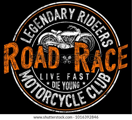 f089ec472 Vintage Motorcycle Tshirt Graphic Stock Vector (Royalty Free ...