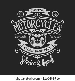 Vintage motorcycle t-shirt hand drawn graphics. Live to ride quote. Custom motorcycles garage service and repair. Vector illustration.