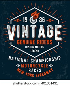Vintage motorcycle typography, t-shirt graphics. Vectors