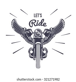 Vintage Motorcycle with Wings Vector Illustration