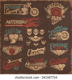 vintage motorcycling quality label set
