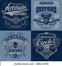 Vintage motorsport emblem graphic set