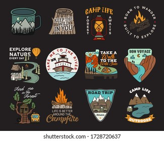 Vintage mountain camp badges logos set, Adventure patches. Hand drawn stickers designs bundle. Travel expedition, backpacking labels. Outdoor hiking emblems. Logotypes collection. Stock vector.
