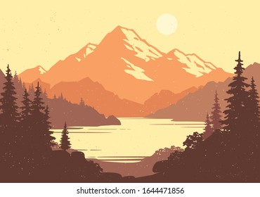 Vintage mountain lake and pine forest landscape in front. Wild tourism or camping  banner design. Vector illustration
