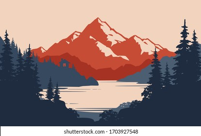 Vintage mountain landscape and small house on the lake or river coast - vector illustration. Peak of rock landscape with mountain lake, small hut, pine forest. Wild tourism or camping  banner design