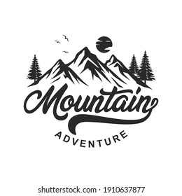 Vintage Mountain Logo Design Vector Template
