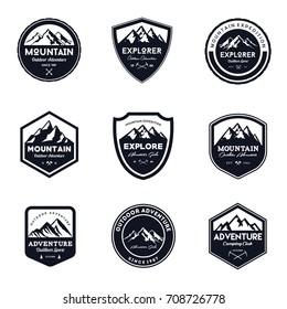 Vintage Mountain & Outdoor Badges Set
