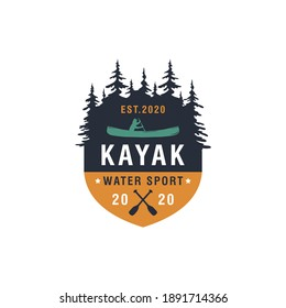 Vintage mountain, rafting, kayaking, paddling, canoeing camp logo, labels and badges