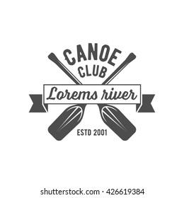 Vintage mountain, rafting, kayaking, paddling, canoeing camp logo, labels and badges.