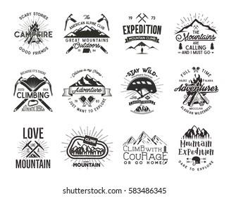 Vintage mountaineering badges. Climbing logo, vector emblems. Climbing alpinism gear - helmet, carabiner, campfire. Retro t shirt design of climb insignias. Old style climber illustration
