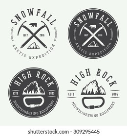 Vintage mountaineering logos, badges, emblems. Vector illustration