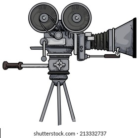 Vintage Movie camera, vector illustration
