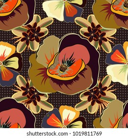 Vintage multicolored floral vector wedding invitation with abstract poppies and leafs, botanical natural beige, orange and brown poppy seamless pattern.