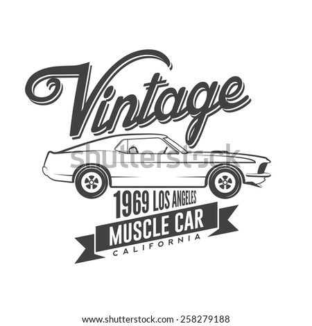 Vintage Muscle Car Emblem Stock Vector Royalty Free 258279188