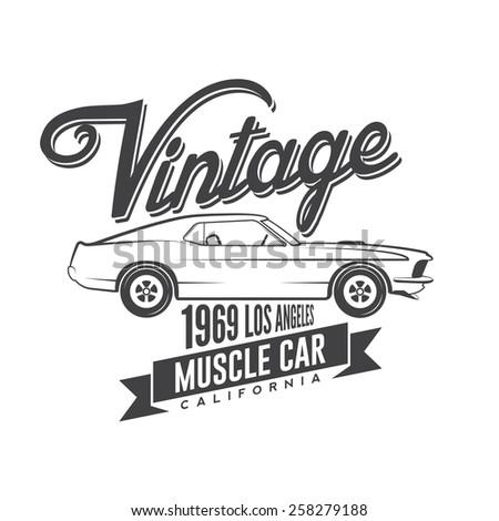 Vintage Muscle Car Emblem Stock Vector Royalty Free 258279188