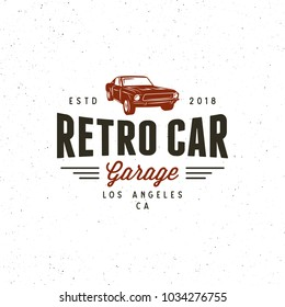 vintage muscle car garage logo. retro vehicle emblem, badge, design element, logotype template. vector illustration