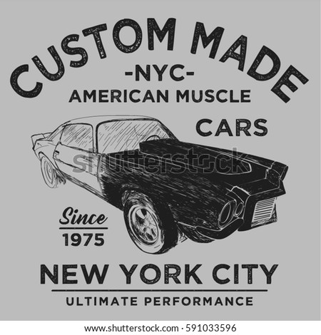 96d60144a vintage muscle car, T-shirt Graphics, Vintage typography, vector  illustration