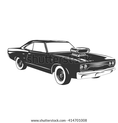 Vintage Muscle Car Vector Illustration Stock Vector Royalty Free