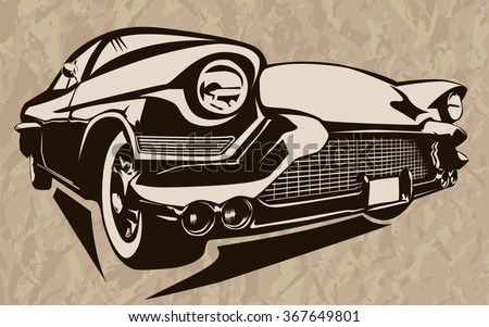 Vintage Muscle Cars Inspired Cartoon Sketch Stock Vector Royalty