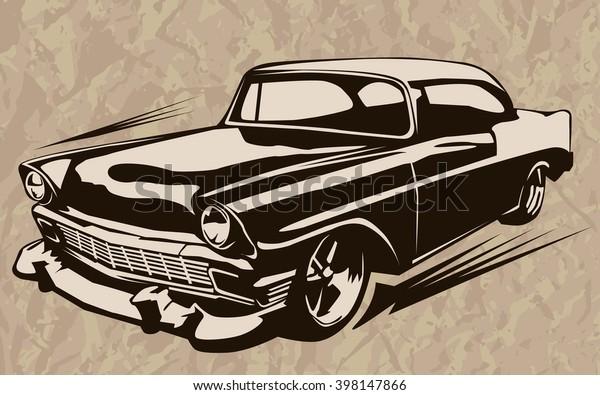 Vintage Muscle Cars Inspired Cartoon Sketch Stock Vektorgrafik