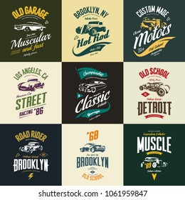 Vintage muscle, roadster, hot rod and classic car vector t-shirt logo isolated set. Premium quality auto logotype tee-shirt emblem illustration. Vehicle street wear retro hipster tee print design.
