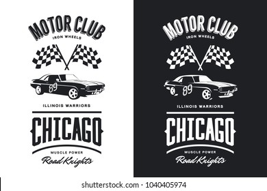 Vintage muscle vehicle black and white isolated vector logo. Premium quality sport car logotype tee-shirt emblem illustration. Chicago, Illinois street wear hipster superior retro tee print design.