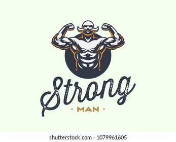 A vintage muscular strong man with a big mustache. Vector illustration.