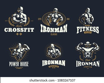 A vintage muscular strong man with a big mustache. Set of vintage vector emblems.