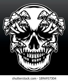 Vintage mushroom skull head. Premium vector