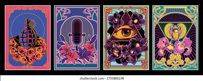 Vintage Music Album Covers Stylization, Psychedelic Posters, Microphone, Grenade, Eye in Triangle, Egyptian Scarab, Lilies, Orchids, Roses, Iris Flowers, Art Nouveu Frames