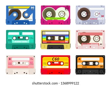 Vintage music cassettes. Retro dj sound tape, 1980s rave party stereo mix, old school record technology. Vector old 90s coloured plastic cassettes set
