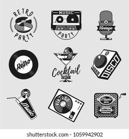 Vintage music icon set. Retro party signs collection isolated on white. Art vector illustration with musical equipment.